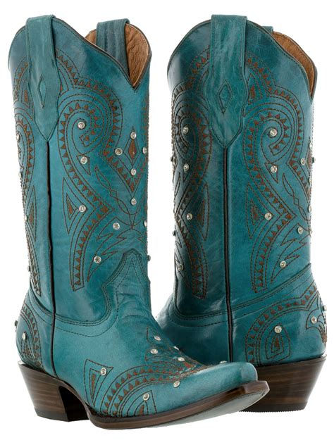 Sepatu Country Boots Casual Brown Originla Handmade womens turquoise brown western leather cowboy boots rhinestones rodeo ebay