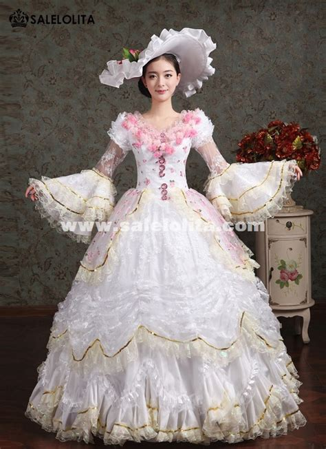 elegant white pink flower marie antoinette costume wedding