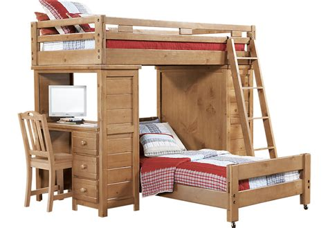 Bunk Loft Bed With Desk Creekside Taffy Student Loft Bed W Desk With Chest Beds Light Wood