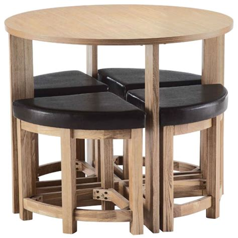 round unvarnished wooden space saver kitchen table added