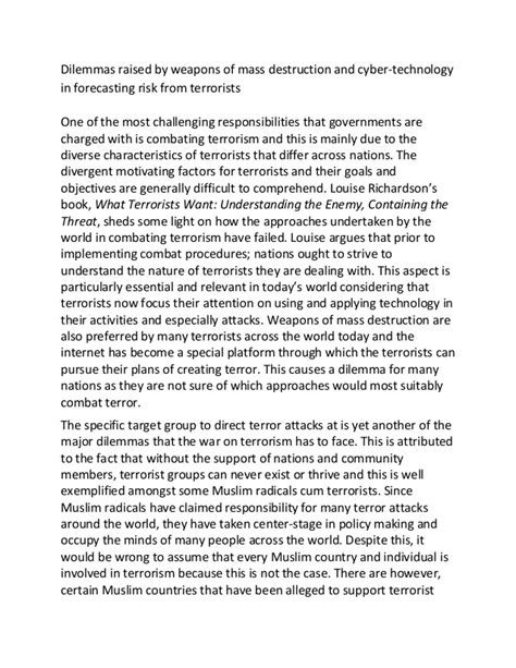 Essay On Terrorism by Sle Essay On Terrorism