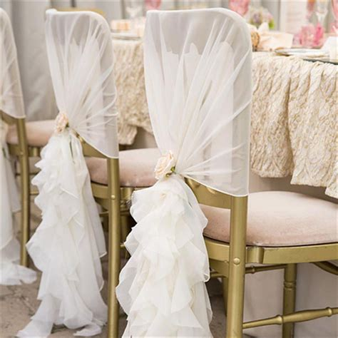 10pcs bag new fashion chiffon chair sash for wedding