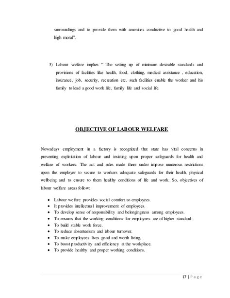Mba Project Report On Labour Laws by Project Report On Labour Welfare Planning Summer
