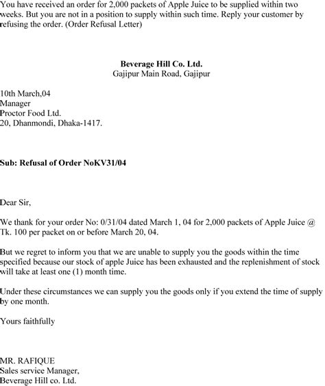 Rejection Of Purchase Order Letter Order Refusal Letter Sle