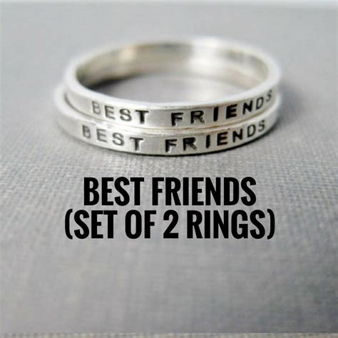 best friend rings set of 2 solid sterling silver sted