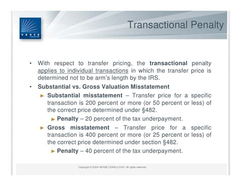 internal revenue code section 482 u s transfer pricing penalty regime summary