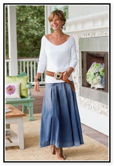 clothes for a 57 year old women denim skirts for women over 50 fifty not frumpy