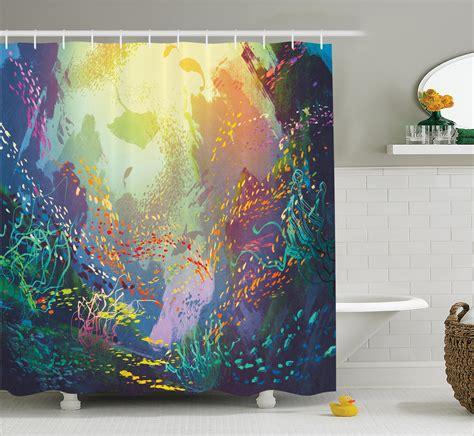 coral reef shower curtain underwater fish shower curtain coral reef art bathroom
