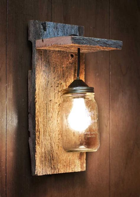 Wood Wall Sconce Jar Light Fixture Reclaimed Wood Wall Sconce
