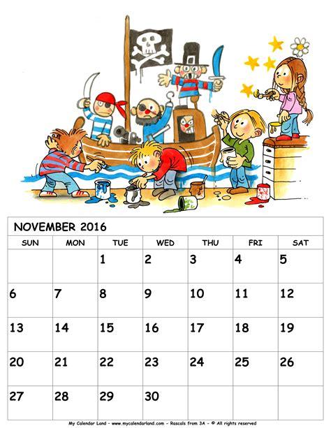 printable monthly children s calendar november 2016 calendar my calendar land