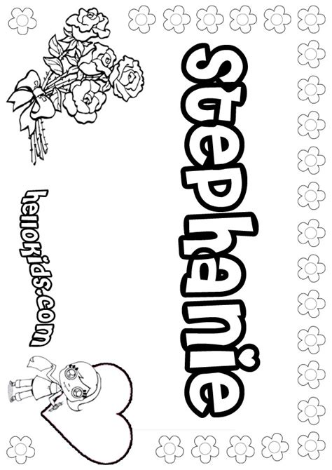 girls name coloring pages stephanie girly name to color