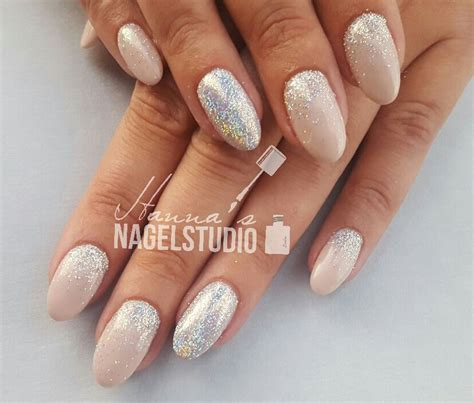 Glitter Acrylnagels by Acryl Nagels Almond Nails Glitter Nails Soft Pink