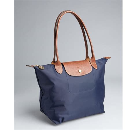 Longch Le Pliage Slh Navy lyst longch navy le pliage small shopper tote in blue