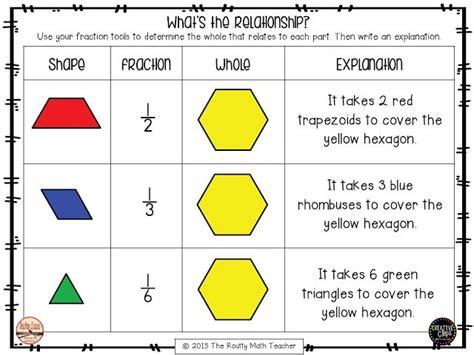 fractions pattern blocks worksheet the routty math teacher thursday tool school