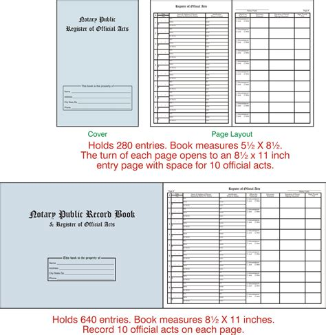 notary journal template notary record book images