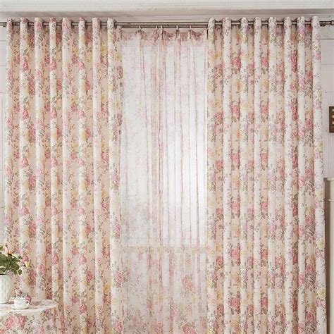 High end floral pink shabby chic curtain for bedroom