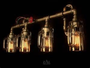Vintage Style Vanity Lighting Vanity L Picture Light Bottles Plumbing Pipe Fittings Vanity Light Wall L