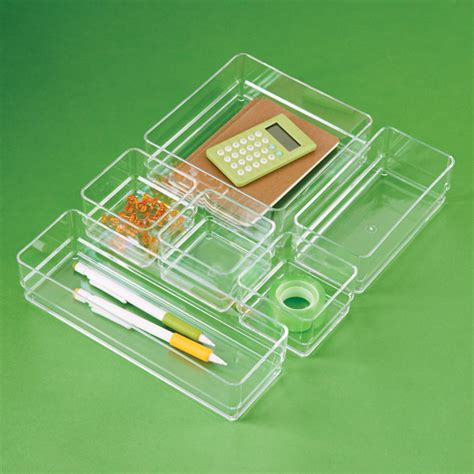 Acrylic Drawer Organizer Set The Container Store Acrylic Desk Organizer Set