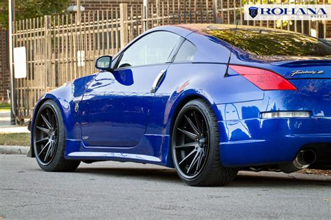matte blue nissan 350z nissan 350z on 20 quot rohana rc10 matte black wheels