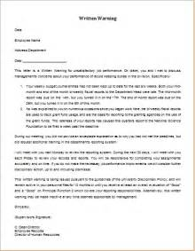 Warning Letter Template For Poor Performance by Unsatisfactory Performance Warning Letter Word