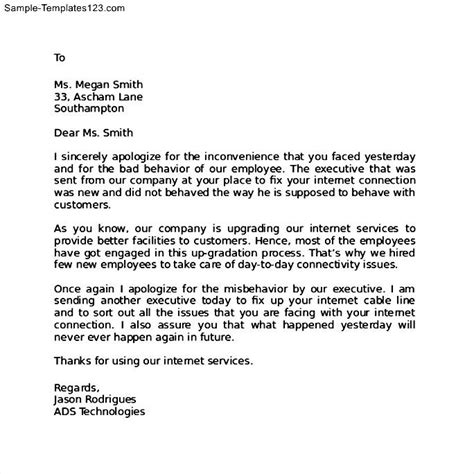 Apology Letter To Hotel Customer Apology Letter To Client For Delay In Service Sle Templates