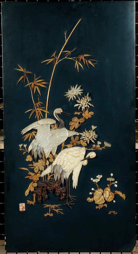 tappeti giapponesi coppia di pannelli con applicazioni in avorio e madreperla