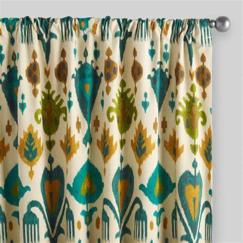 teal and gold curtains gold and teal ikat aberdeen cotton curtain world market