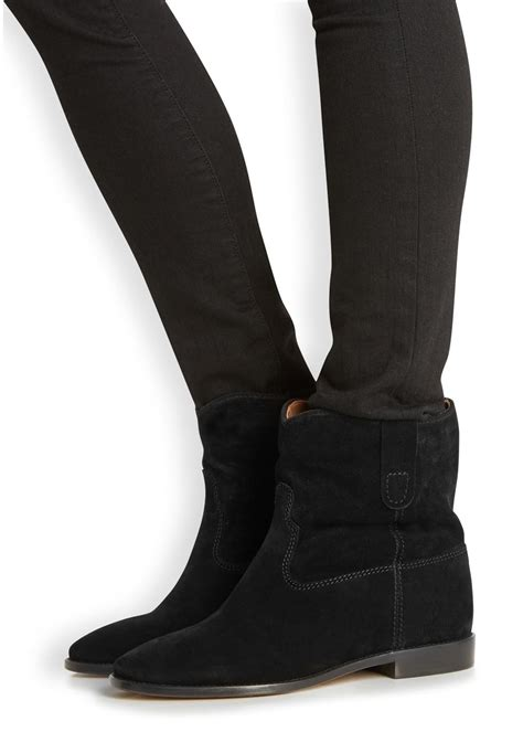 201 toile marant crisi black suede wedge boots in