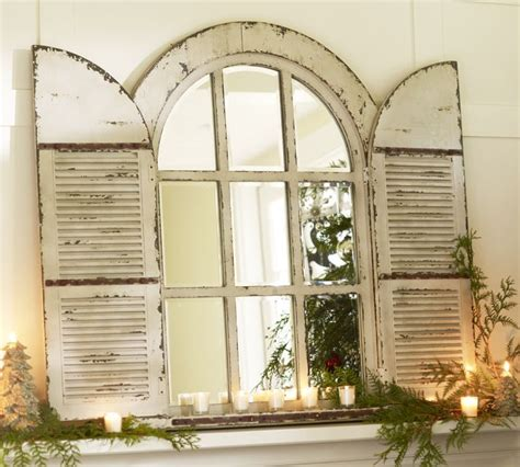 retired home interior mirrored window pane shutters wall hanging antique window pane mirror pottery barn arched door