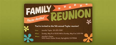 Family Reunion Invitation Card Templates by Reunions Free Invitations