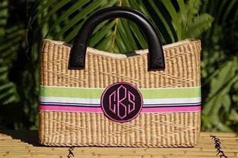 monogrammed large beverly straw basket bag  monogrammed