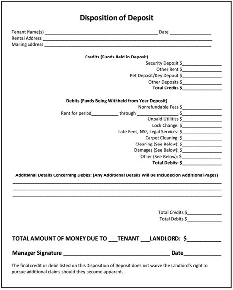 rental deposit form how to use the disposition of deposit as a landlord with