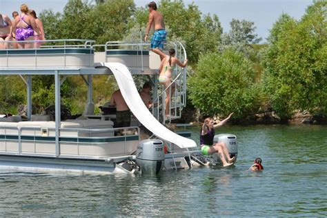 pontoon water slide huge premier pontoon with sky deck water slide duel