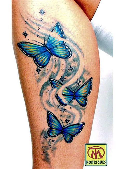 butterfly tattoo thigh blue and yellow butterfly tattoo on side leg