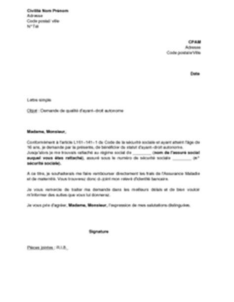 Demande De Droit D Option Lettre Exemple Gratuit De Lettre Demande Qualit 233 Ayant Droit Autonome 224 Cpam
