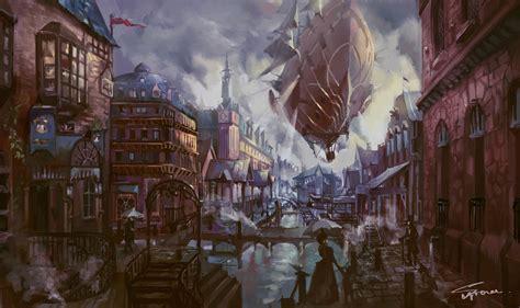 dragon  steampunk city  behance