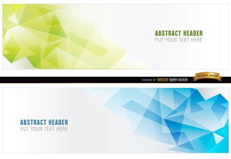 design your header abstract blue green polygonal headers vector download