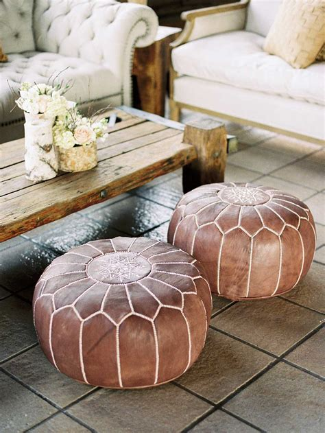 light tan moroccan pouf leather pouf leather pouf ottoman natural brown leather