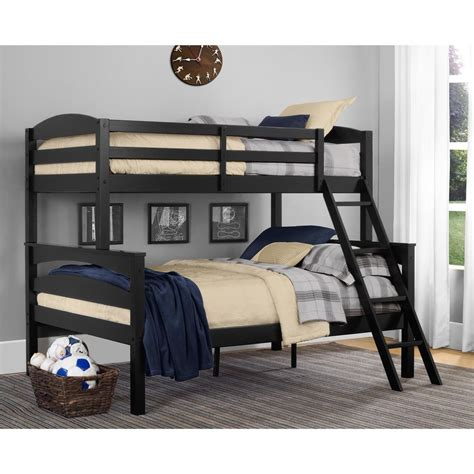 twin  full bunk beds black wood bunkbeds kids loft ladder bedroom furniture ebay