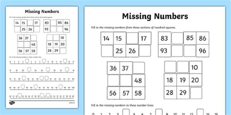 missing numbers worksheet activity sheet worksheet