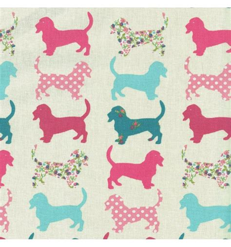 puppy fabric hound fabric pinks blues and florals textiles fran 231 ais