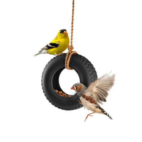 bird rubber sts uk swingtime ceramic tire swing bird feeder the green