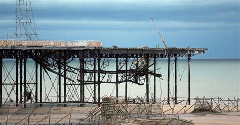 pier sections collapse of colwyn bay pier sparks asbestos pollution