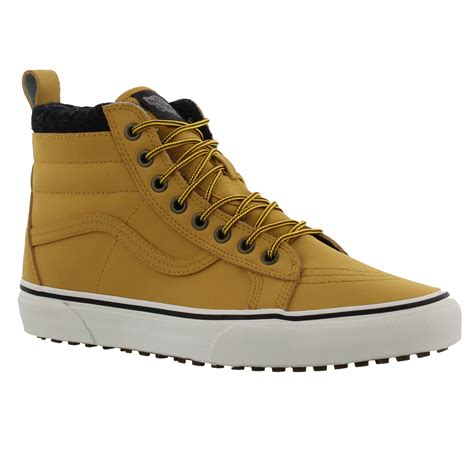 mid top skate shoes vans sk8 hi mte mens leather mid top skate shoes trainers