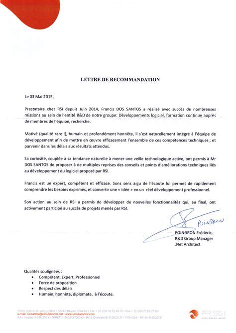 Lettre De Recommandation Intérimaire recommandation rsi frandevs