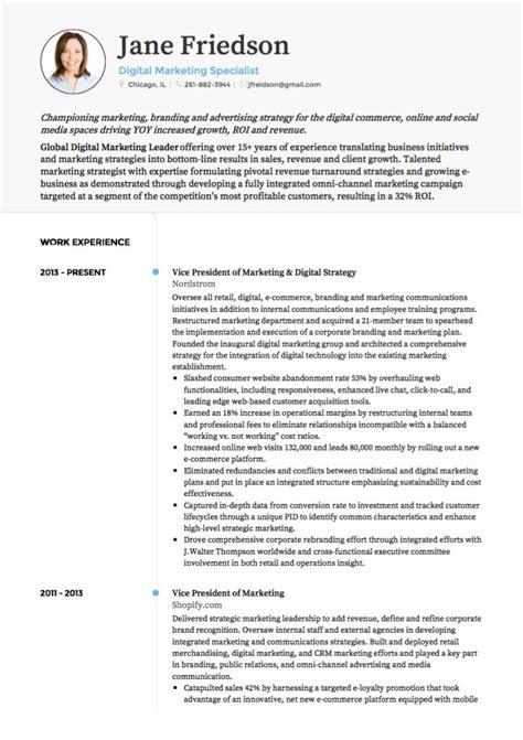 marketing cv exles templates visualcv