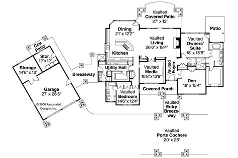 floor plans with detached garage craftsman house plans arborgate 30 654 associated designs