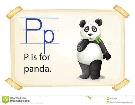 a p a letter p for panda stock vector image 47067889