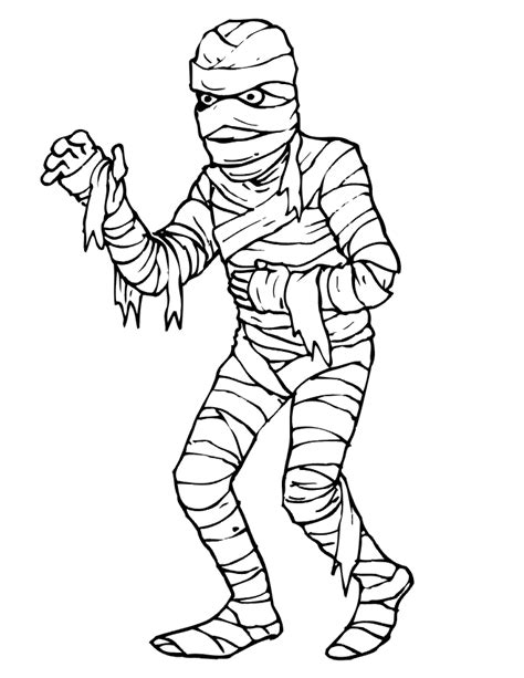 mummy coloring page scary looking mummy