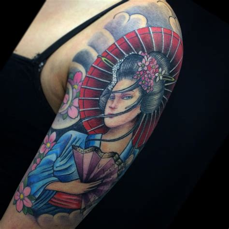 japanese geisha tattoo 70 colorful japanese geisha tattoos meanings and